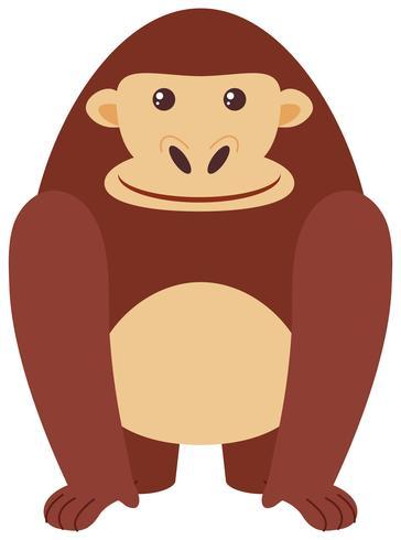 Happy gorilla on white background
