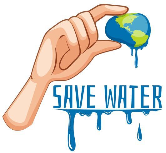 Bewaar waterteken met aarde die wordt geperst
