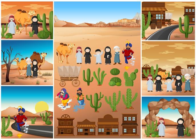 Escenas del desierto con personas y edificios.