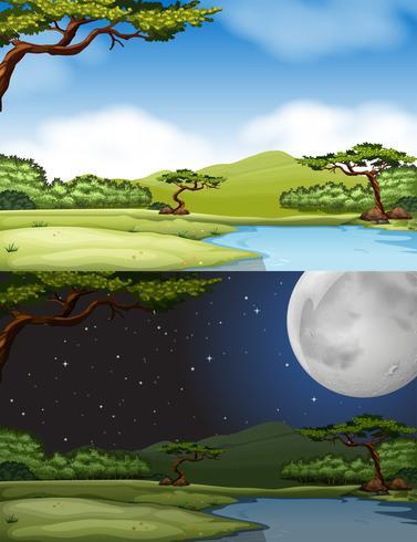 Escena del río durante el día y la noche.