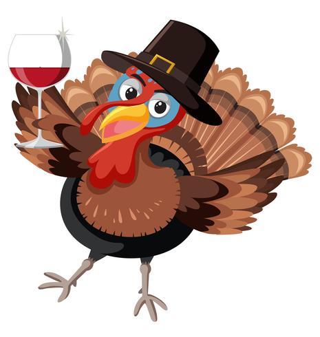 A happy turkey character