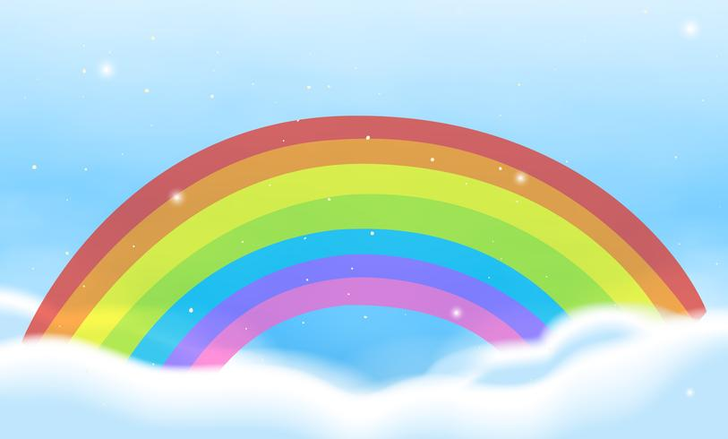 Sky scene with bright rainbow