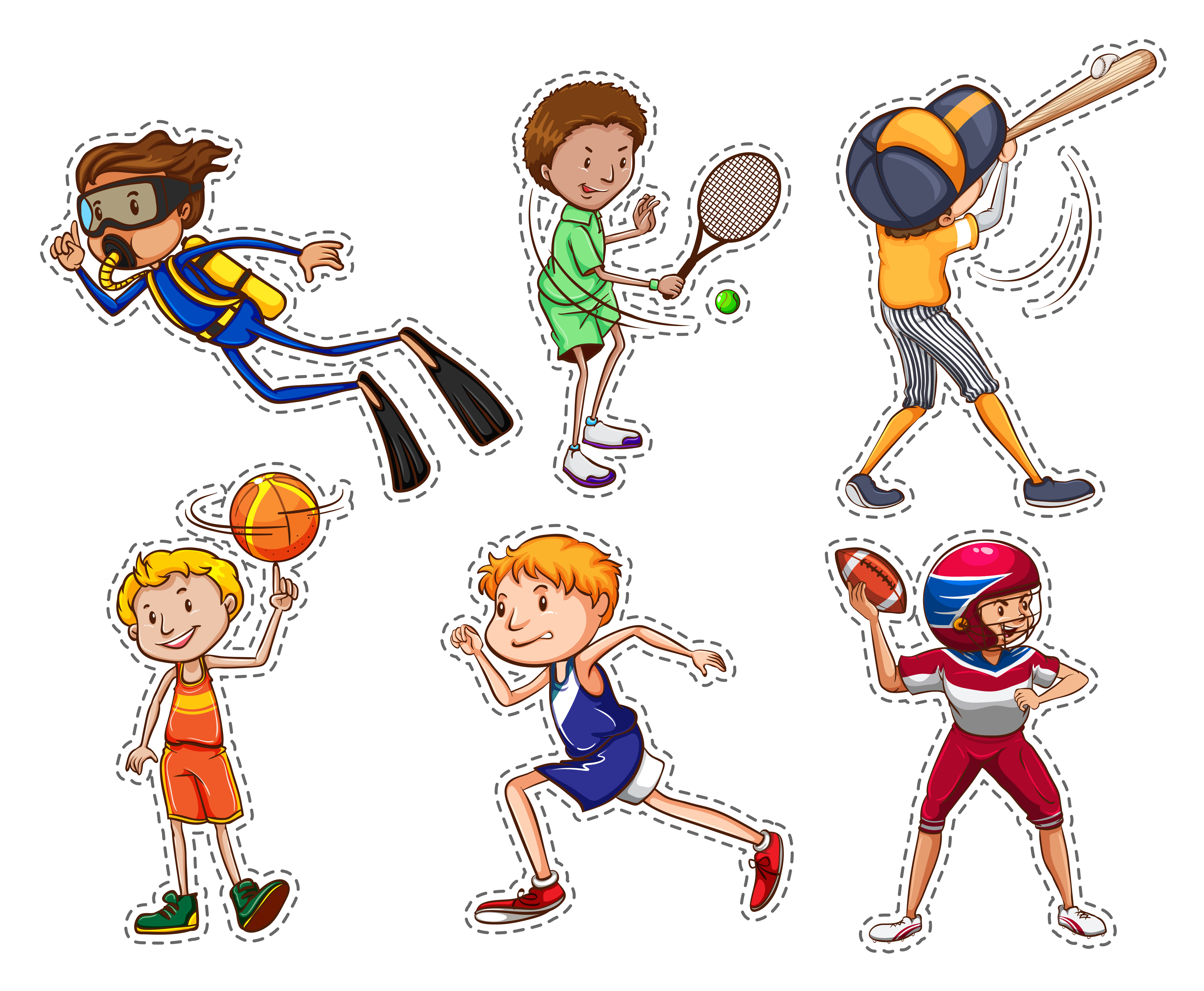 sports doing different illustration playing cartoon cute children vector happy motifs human collection boy clipart kinds shutterstock non