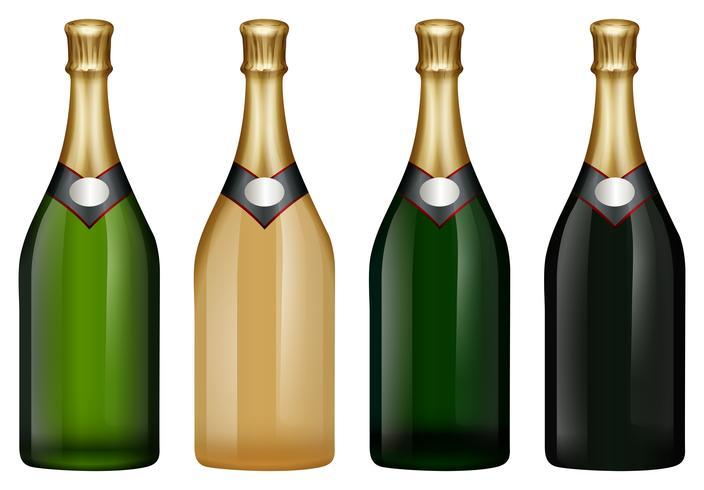 Botella de champagne en muchos colores.