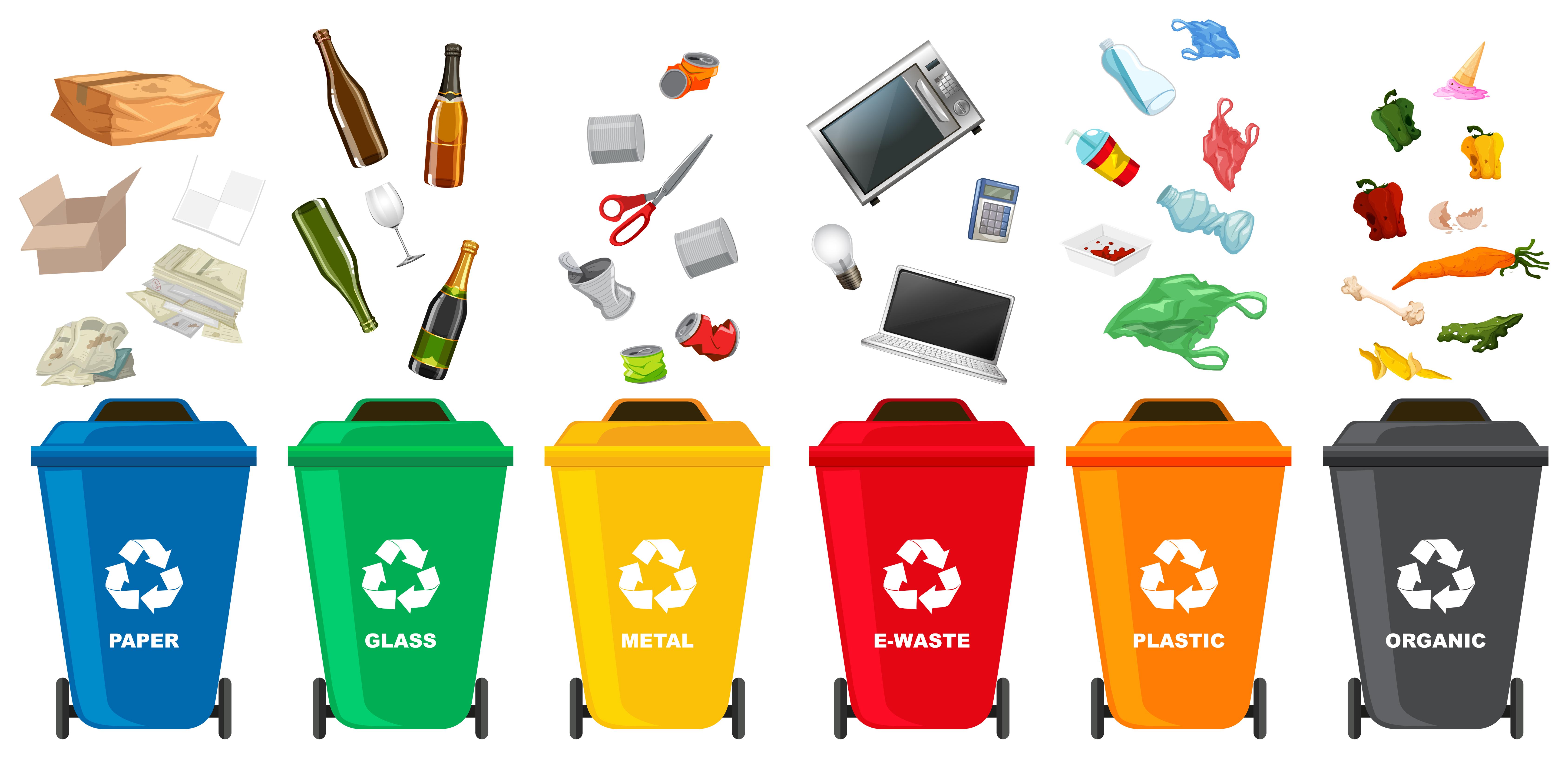Set Of Different Trash Bin