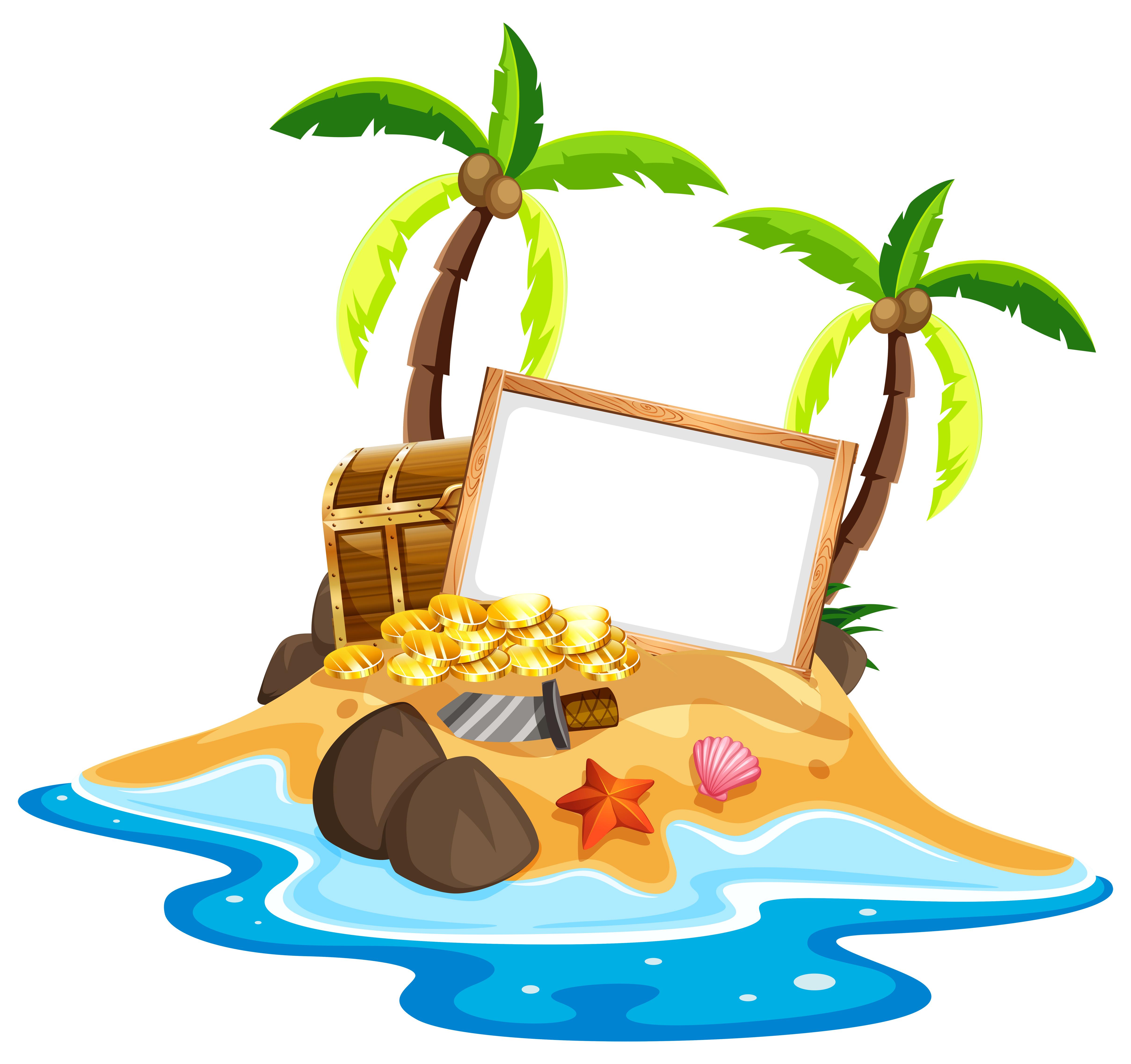 Empty sign on treasure island - Download Free Vectors ...
