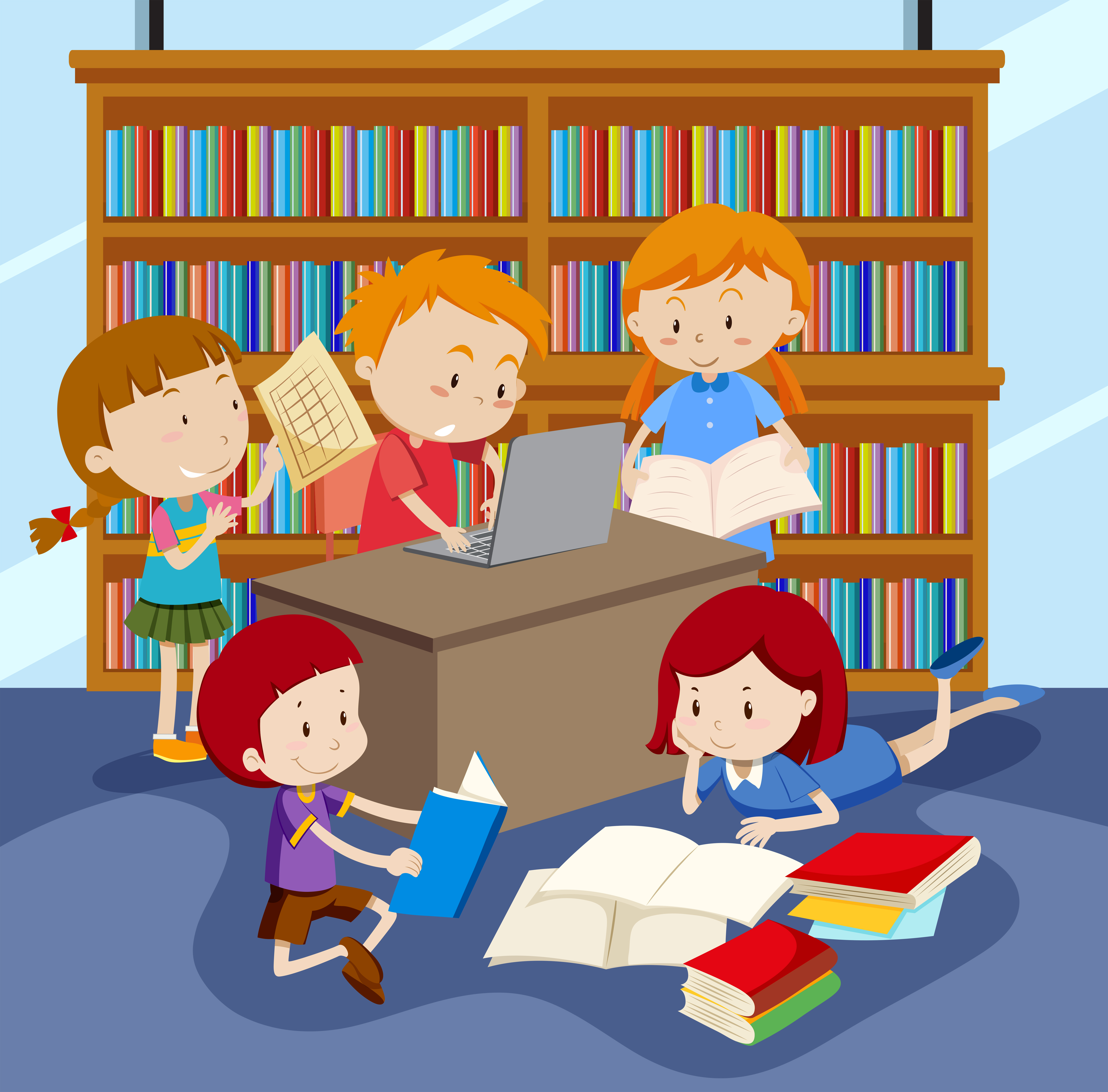 Group of children studying - Download Free Vectors ...
