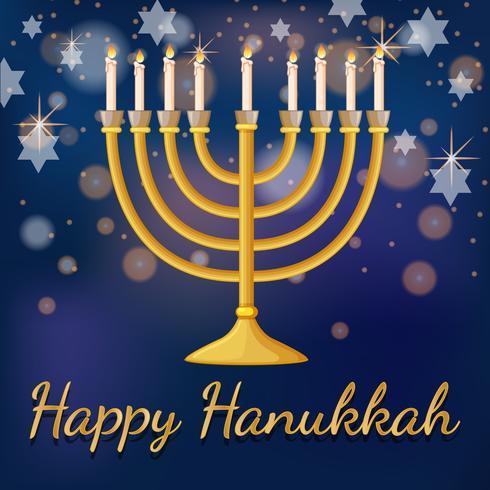 Modelo de cartão de feliz Hanukkah com luz e estrelas