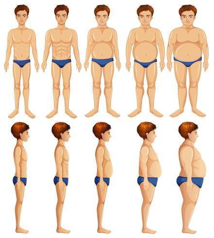 Um conjunto de transformação do corpo do homem
