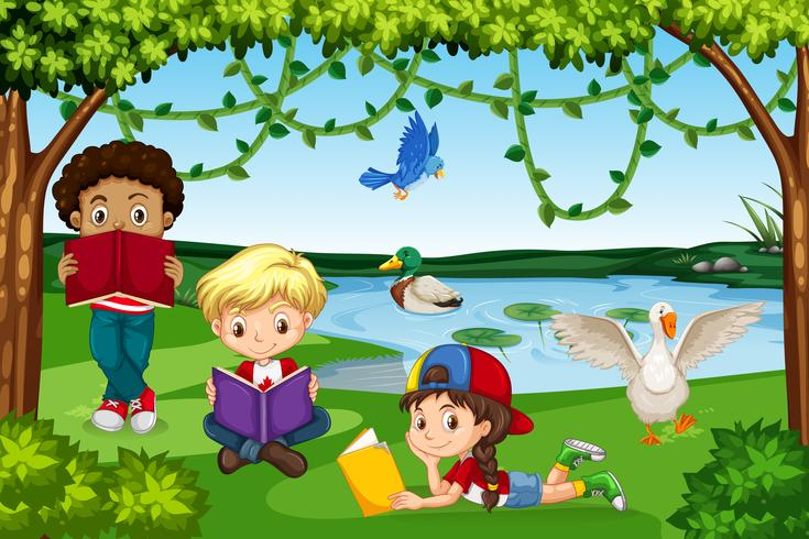Bambini che leggono libri in natura vettore
