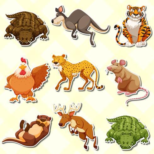Aufklebersatz mit vielen Tieren