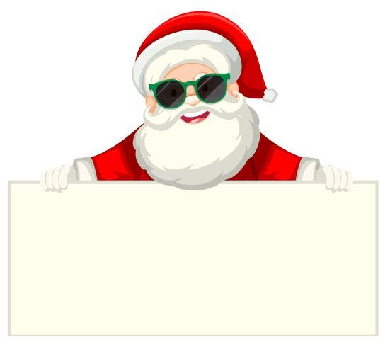 Santa med solglasögon med pappersbit