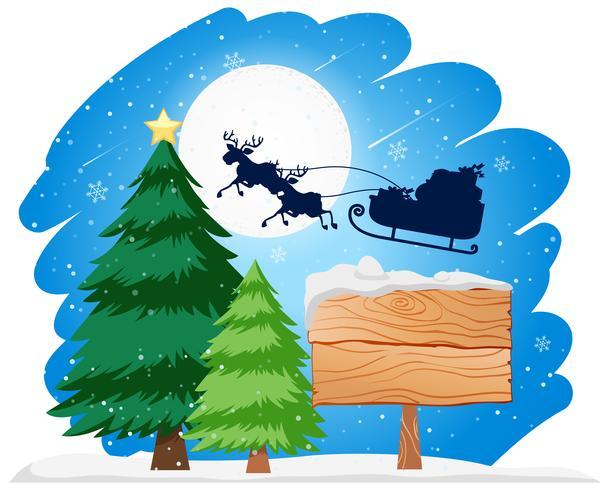 Panneau en bois Père Noël dans le concept de traîneau