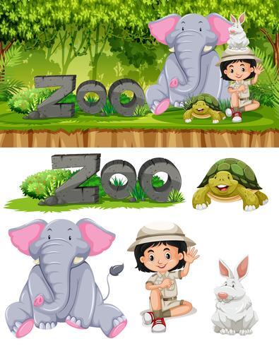 Safari girl and zoo animals