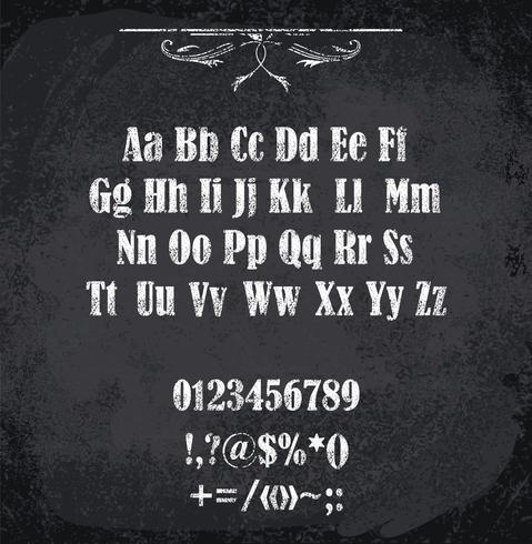 Ilustración de vector de alfabeto con tiza
