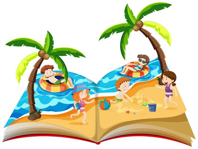 A pop up book with summer holiday