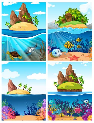 Eine Reihe von Inseln und Unterwasserszenen