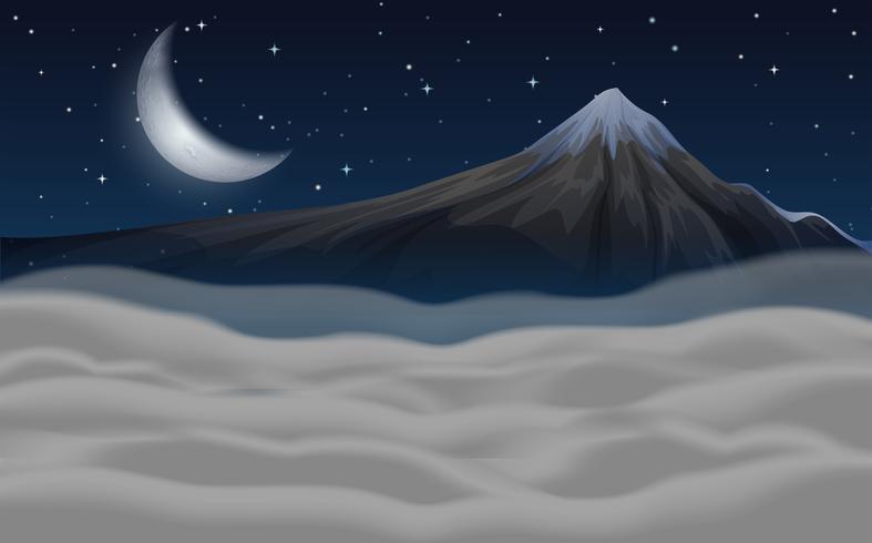 Bella scena di montagna durante la notte
