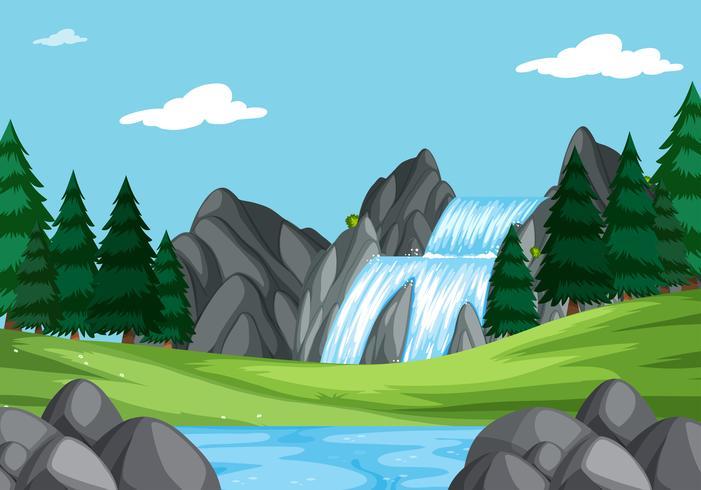 Una cascata nel paesaggio della natura