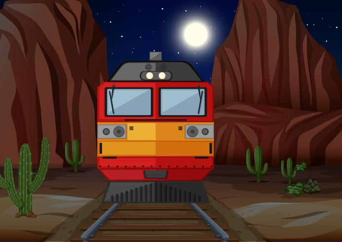 Train on the railroad at night time