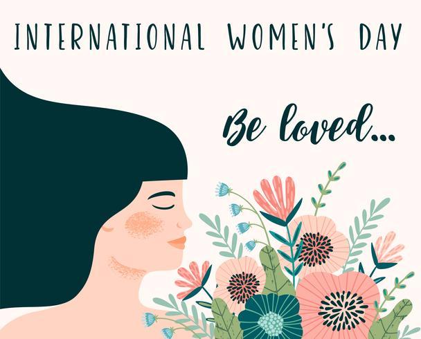 Giornata internazionale della donna. Modello di vettore con donna e fiori.