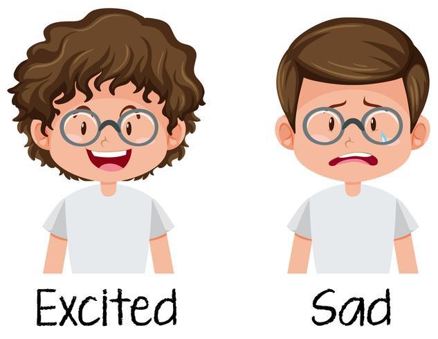 Conjunto de niño emocionado y triste.