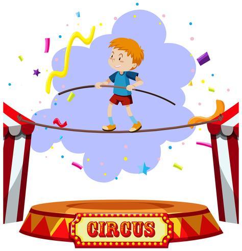 Un circo andante sobre la cuerda floja vector