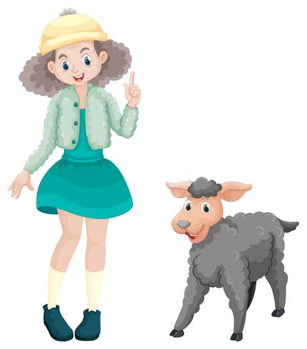 Cute girl and little lamb
