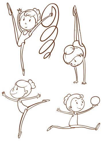 Doodle personaje para jugadores de gimnasia. vector