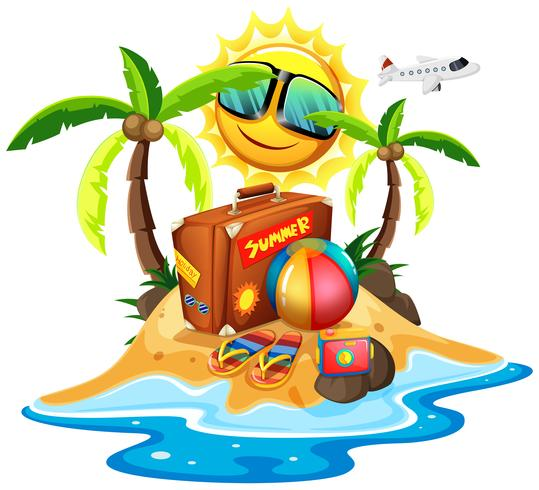 Sommerthema mit Tasche und Ball auf der Insel