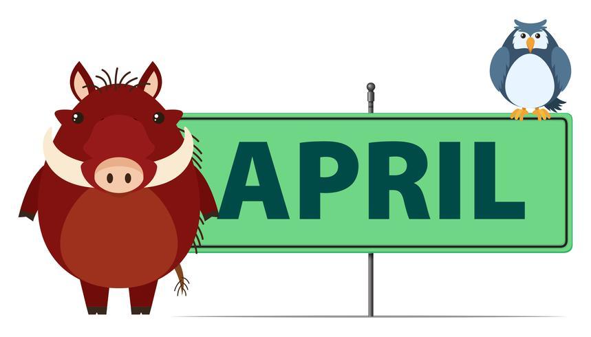 April Schild mit zwei Arten von Tieren