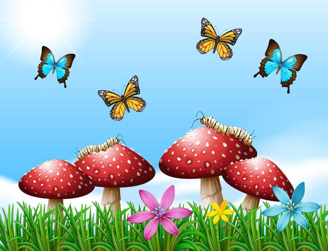 Cena da natureza com borboletas no jardim