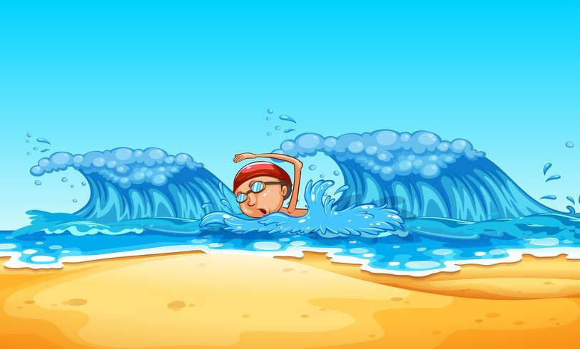 Homem, natação, praia