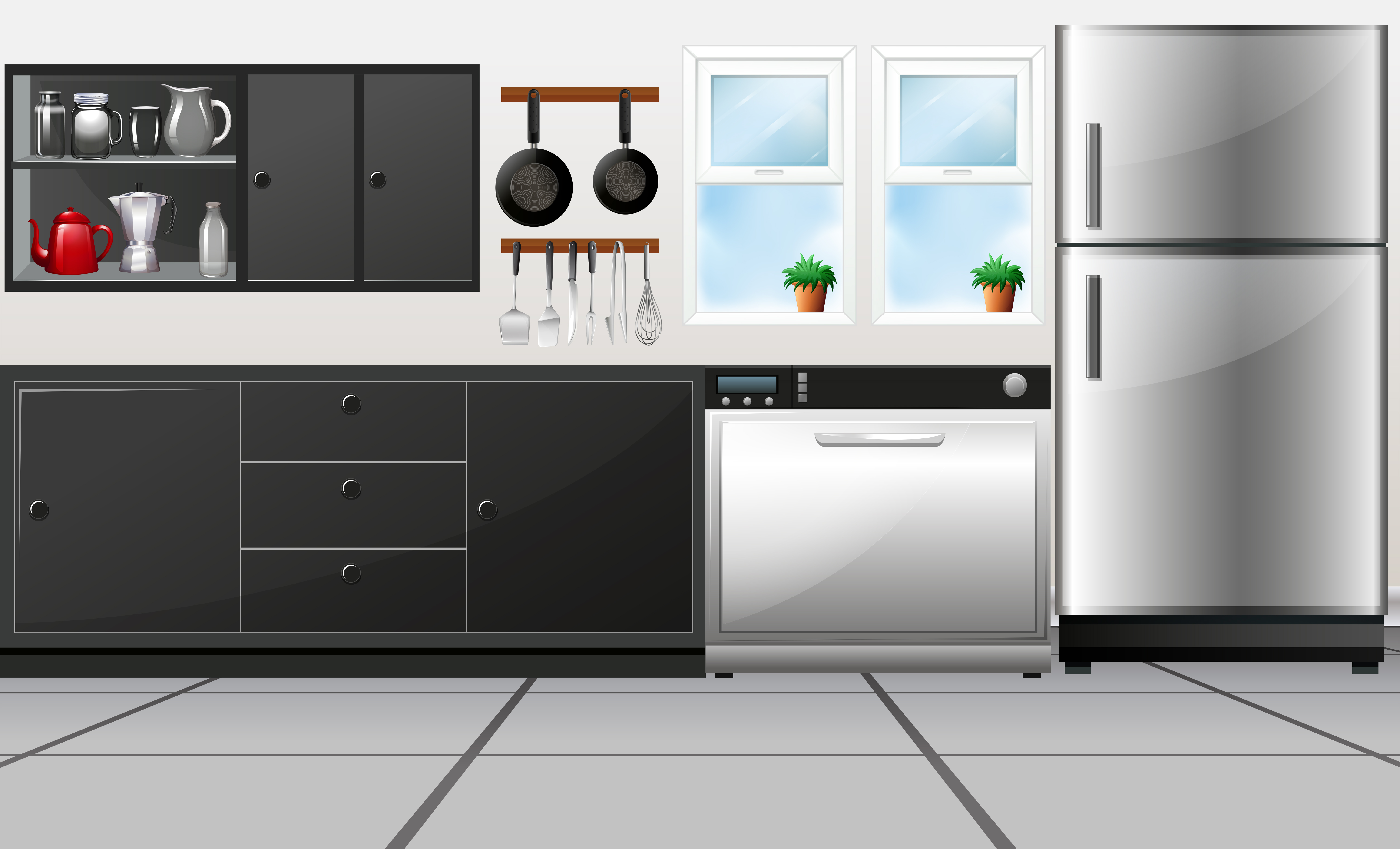 Kitchen Room With Utensils And Electronic Appliances