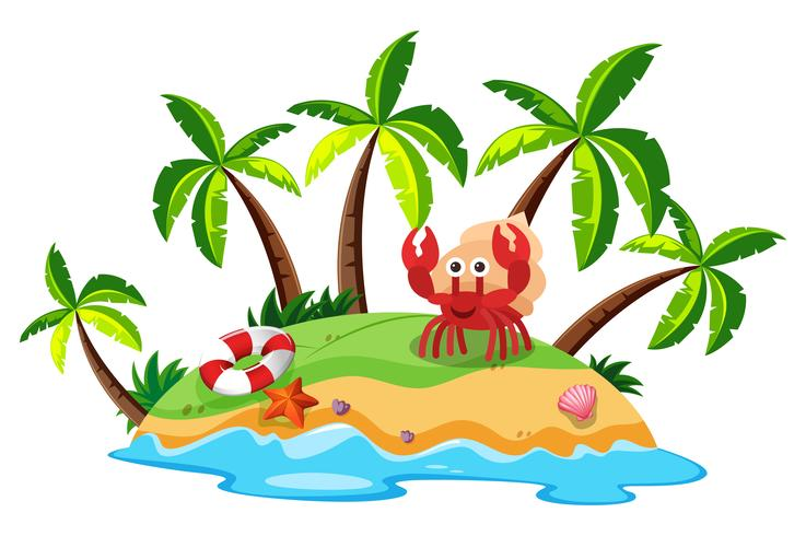 Uma bela ilha e caranguejo
