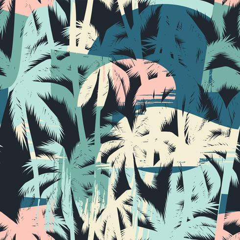 Sem costura padrão exótico com palmeiras tropicais e artistico.