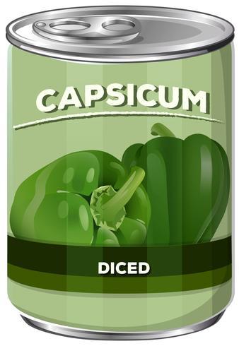 Una lattina di peperone cubettato