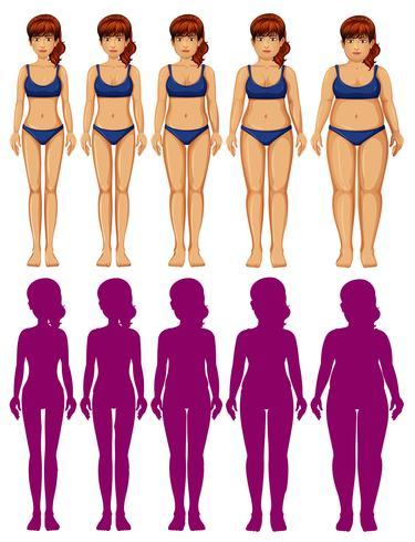 Ein Satz Frauenkörper-Schattenbild