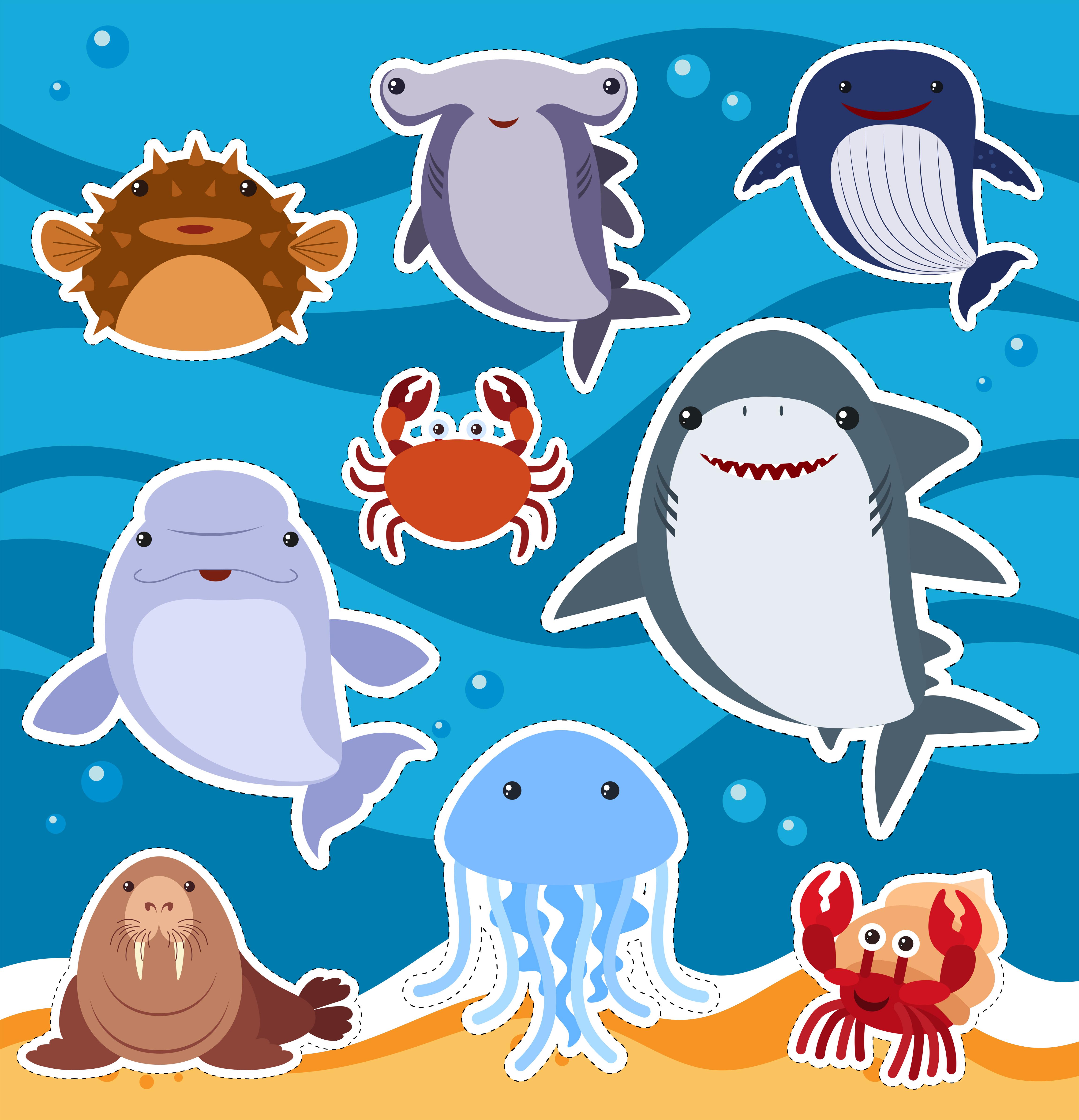 Sticker Design With Cute Sea Animals 303223 Vector Art At Vecteezy