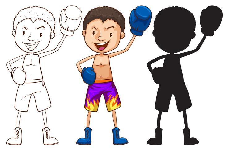 Schetsen van een bokser in verschillende kleuren