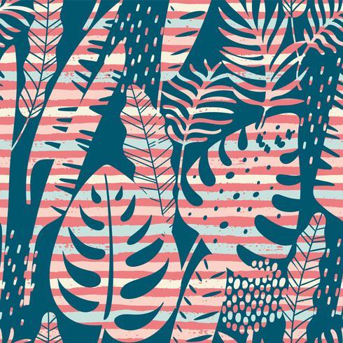 Modello esotico senza cuciture con sfondo di piante e strisce tropicali.