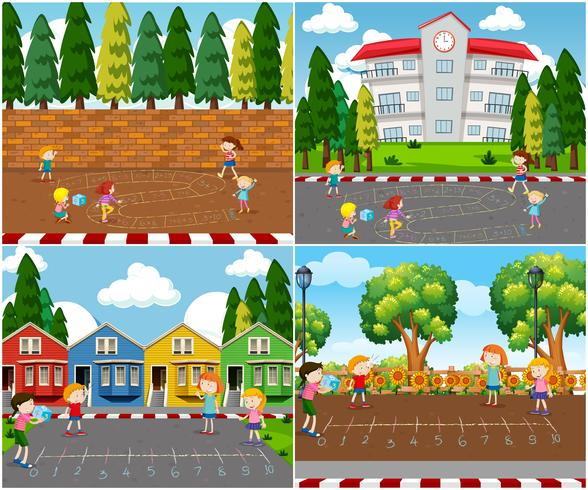 Children Playing Outdoor Math Games vector