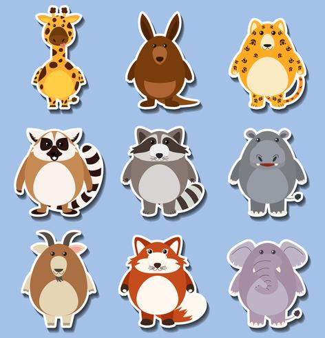 Sticker set with many animals on blue vector