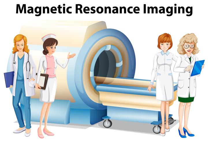 Nurses and doctors by the magnetic resonance imaging