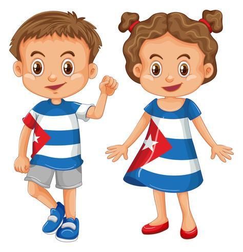 Menino menina, desgastar, camisa, com, bandeira cuba