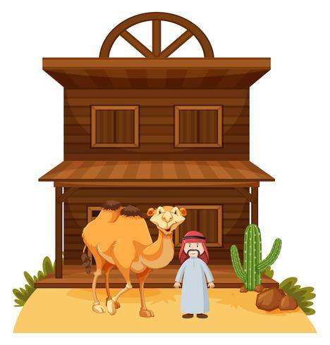 Arabische man en kameel bij westerse stijl gebouw