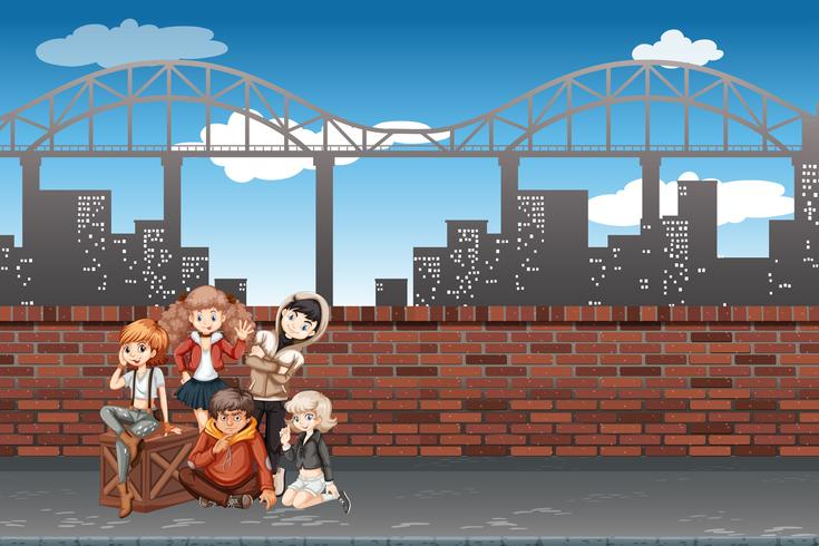 Eine Gruppe von Jugendlichen in der städtischen Szene