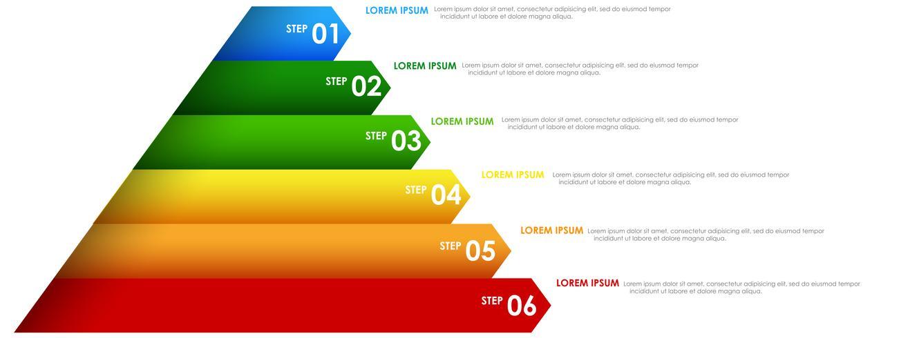 Kleurrijke regenboog infographics piramide