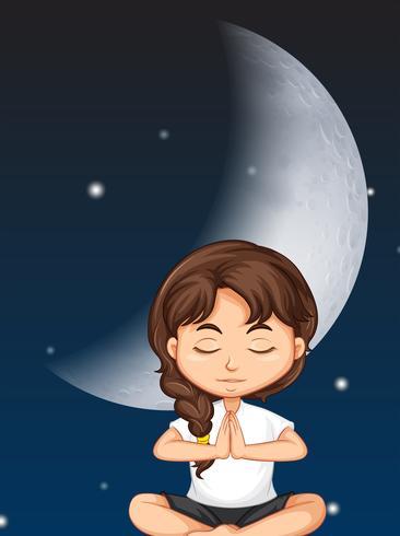 Chica medita en el fondo de la luna vector