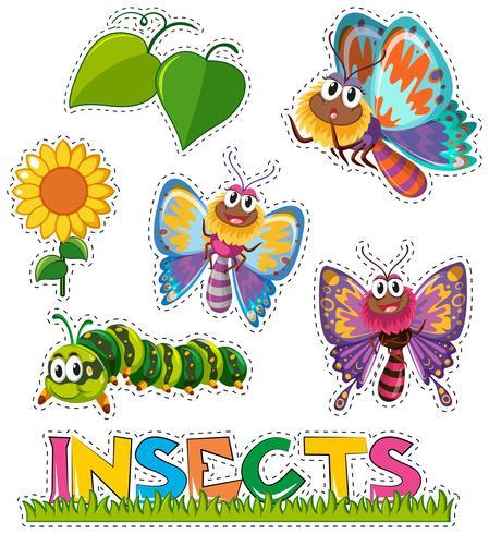 Adesivo, jogo, com, borboletas, em, jardim